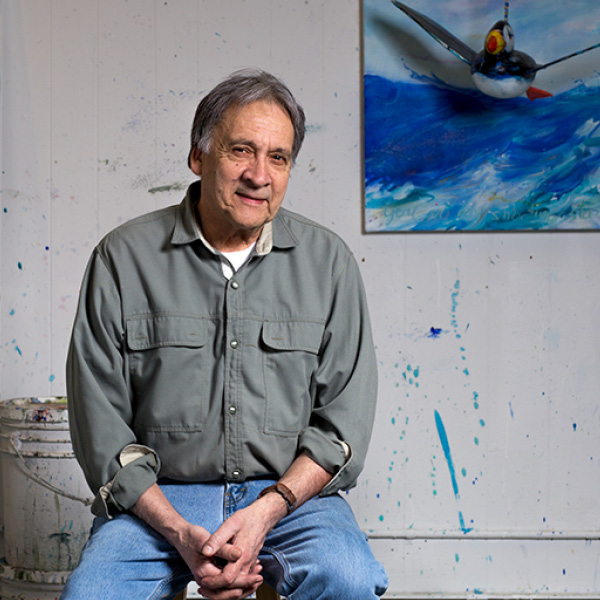 Alvin Amason Distinguished Artist in his studio