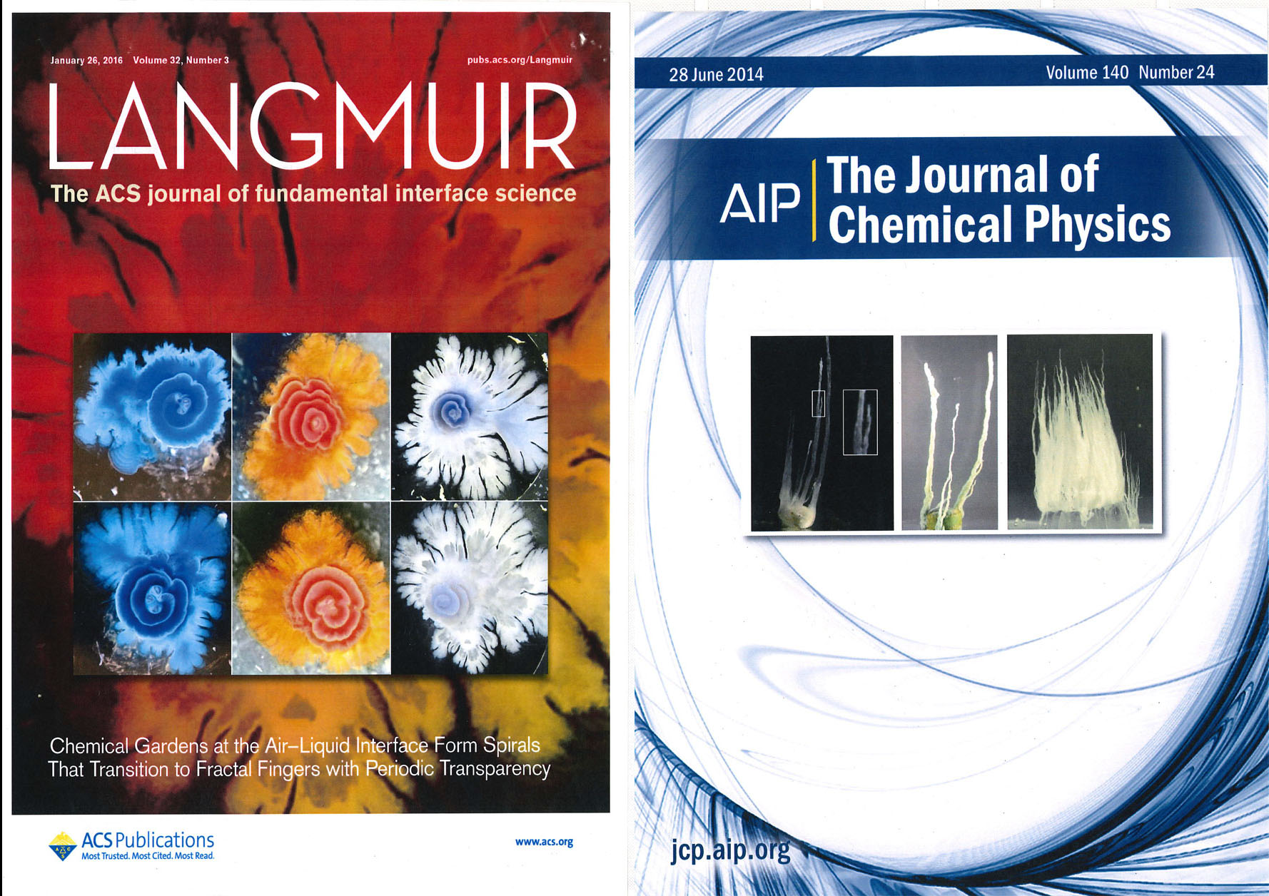 Langmuir: The ACS journal of Fundamental interface science Cover, AIP The journal of Chemical Physics Cover