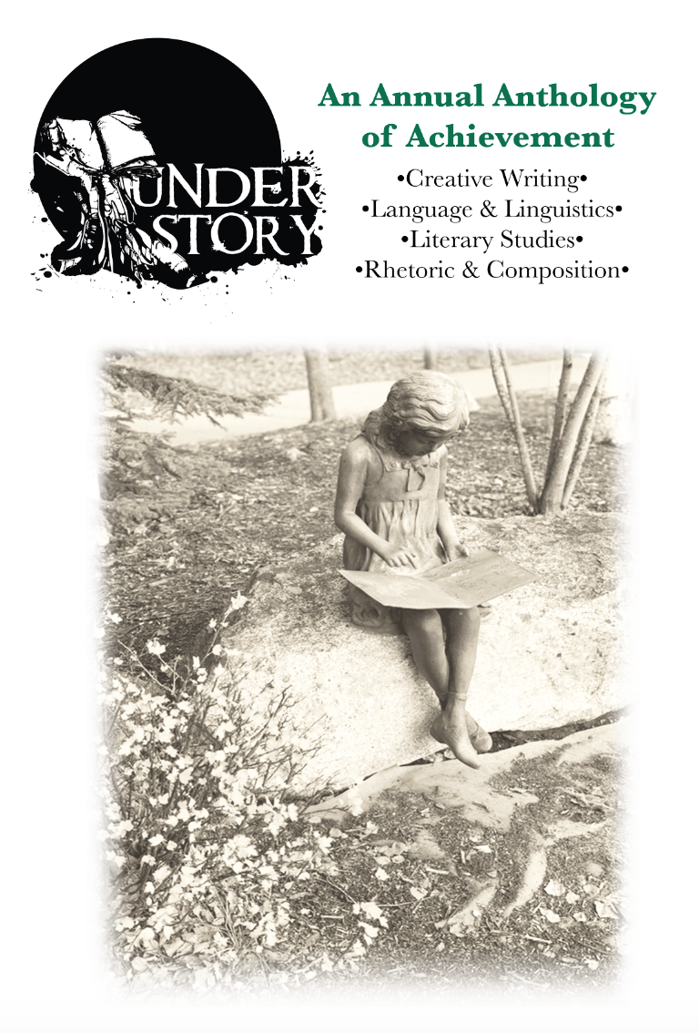 The Cover of Understory 2019: An Annual Anthology of Achievement, including the title and a photograph of a sculpture of a young girl reading a book