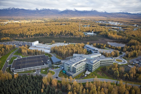 Arial view of UAA campus