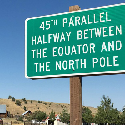 45th parallel post placed halway between the equator and the north pole.
