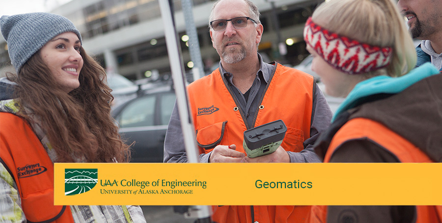 Professor John Bean demonstrates surveying equipment during a Geomatics class at the University of Alaska Anchorage