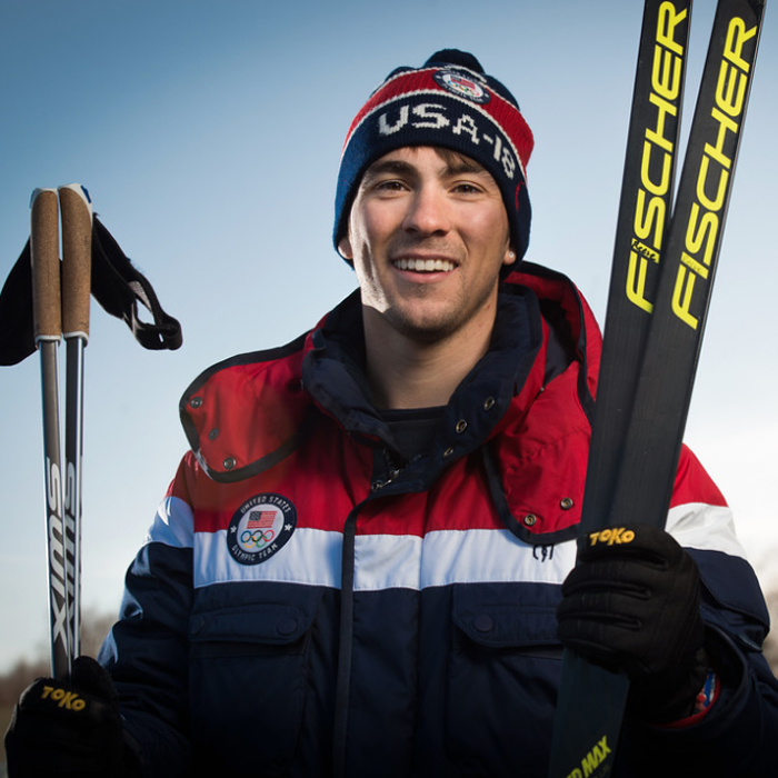 Renowned Nordic skier Reese Hanneman, photographed in front of UAA's Engineering and Industry Building.