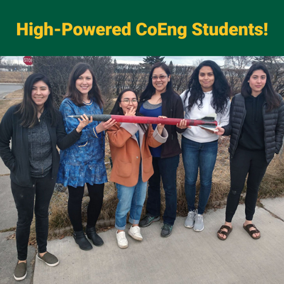 UAA CoEng Engineering students who built a rocket to compete at the NASA High Power Rocket Competition in Minnesota