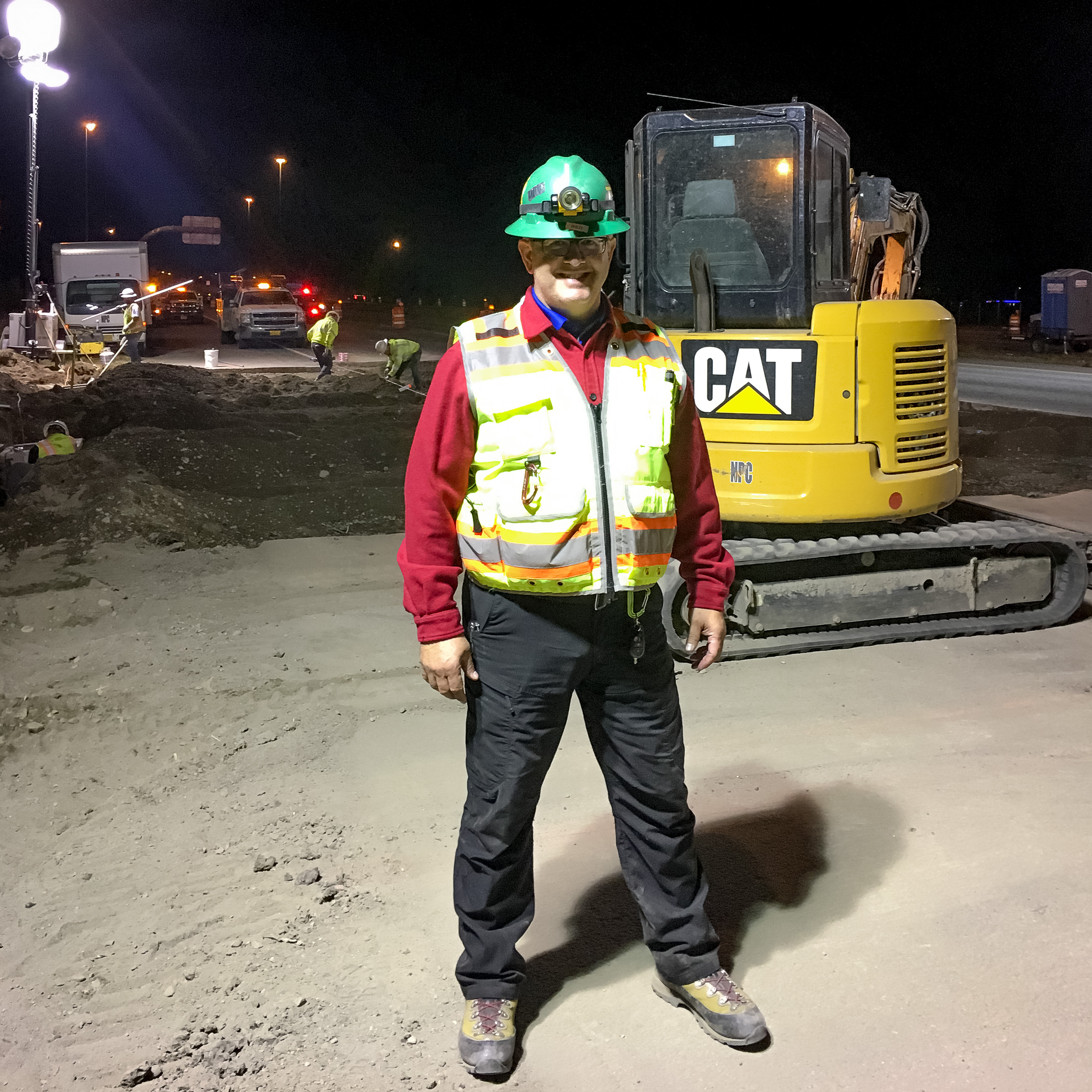Mark Cosby at roadway construction site