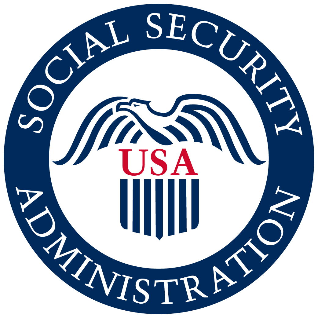 Social Security logo with line art eagle over banner