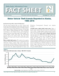 Motor Vehicle Theft Arrests Reported in Alaska, 1985–2015