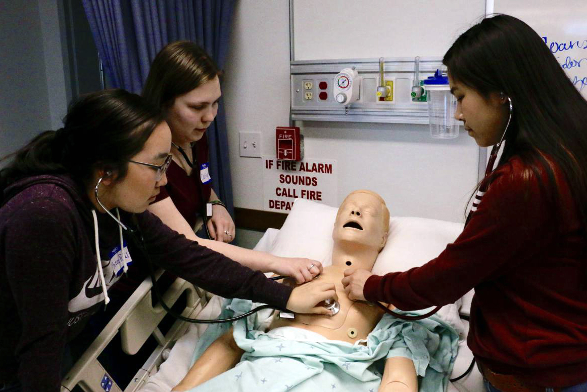 Students use their new stethoscopes to listen to the lungs of a health training mannequin