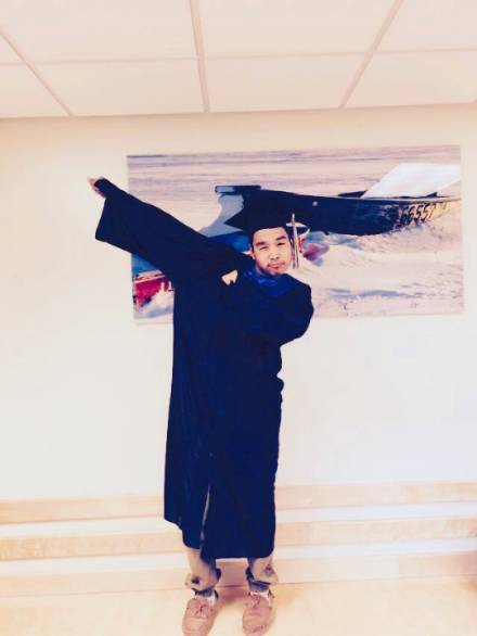 Student in graduation gown
