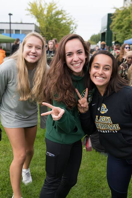 Two female students at UAA Campus Kickoff