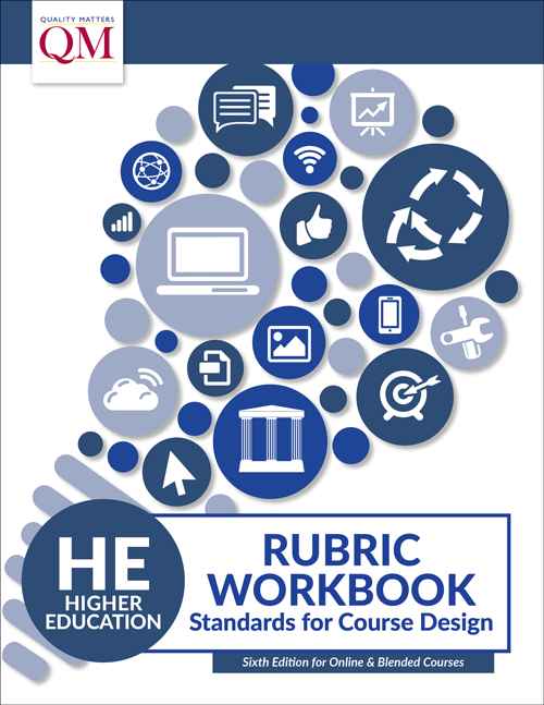 image of a 6th edition quality matters rubric workbook