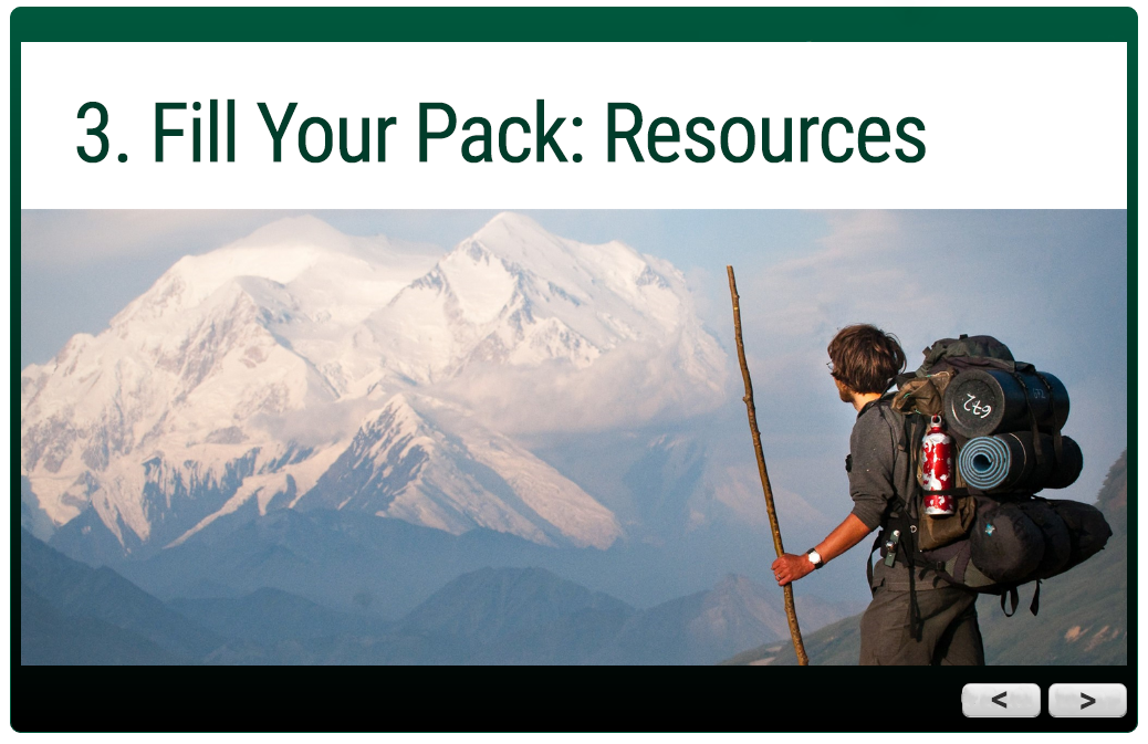trail guides module: 3. FIll Your Pack