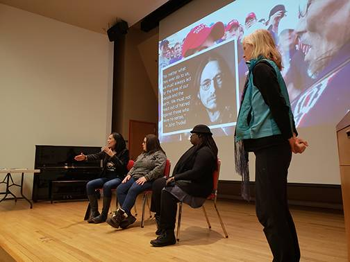 Panel discussion with Jacqui Patterson, Princess Daazhrall Johnson and Sama Seguinot-Medina.
