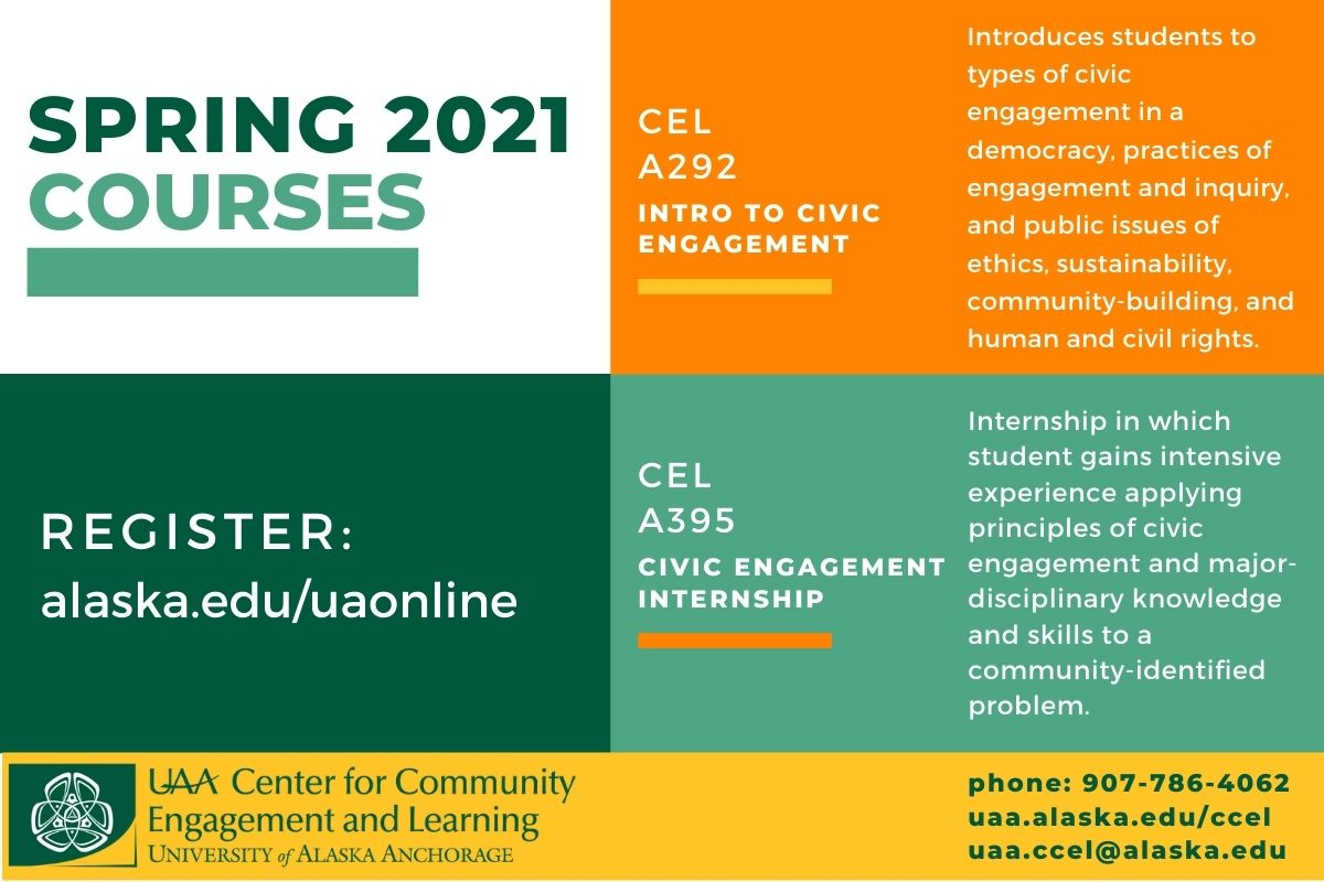 Flyer in yellow, medium green, dark green and orange advertising Spring 2021 Civic Engagement Courses