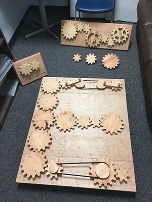 wooden gear board constructed