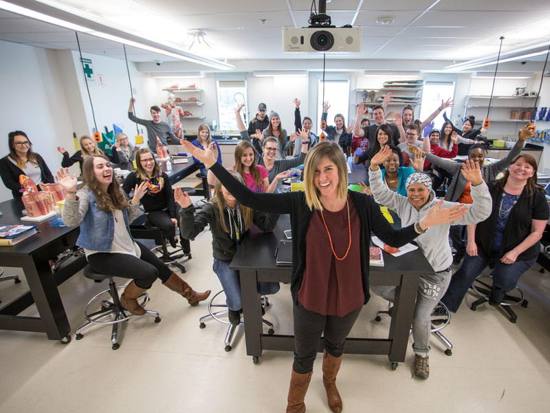 Choron Ryan, term instructor of biological sciences, with her anatomy and physiology class.