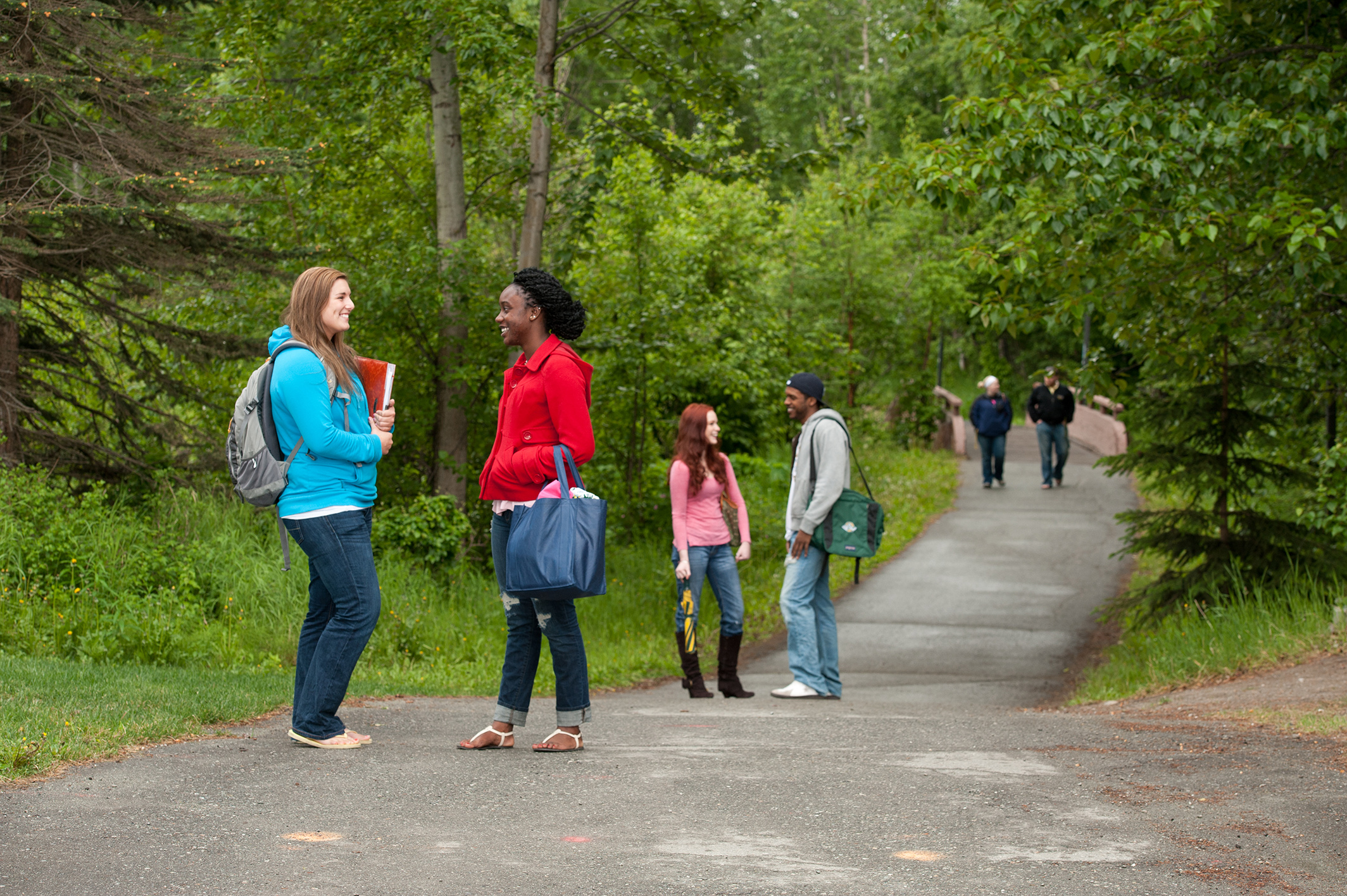 Students on campus trail