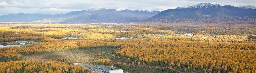 Anchorage fall and Chugach mountains.