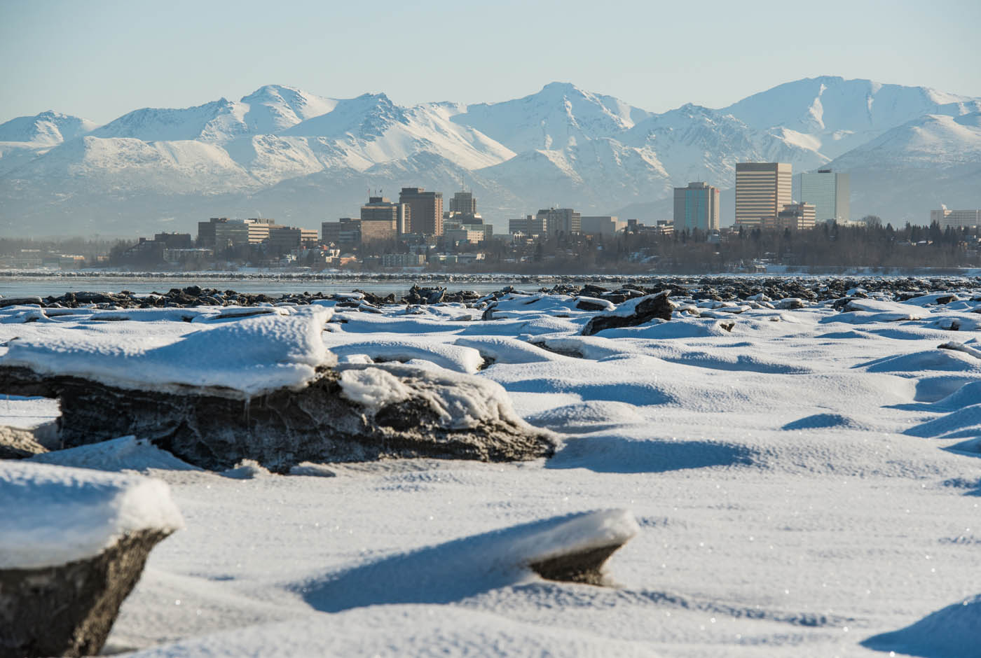 Anchorage Skyline in winter as seen from across the inlet