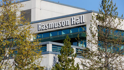 A shot of Rasmuson Hall from the outside