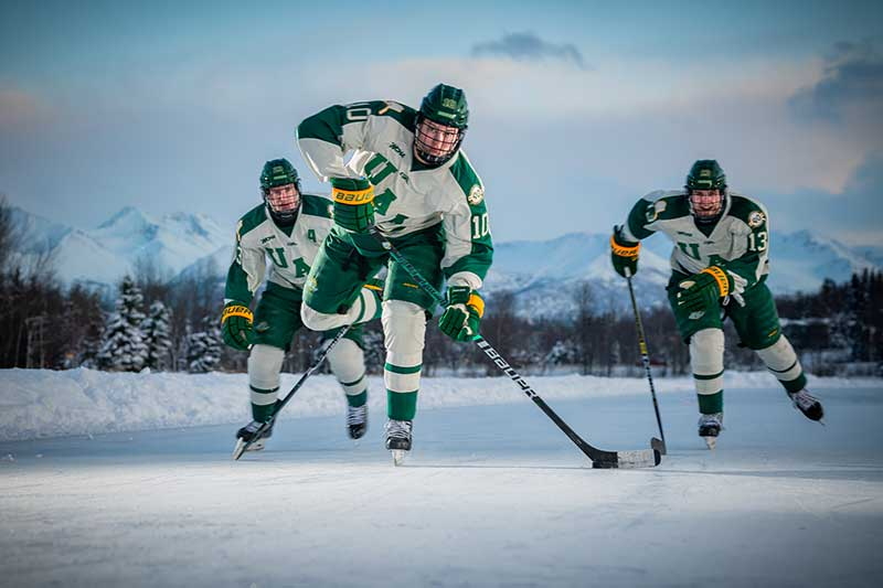 UAA men's hockey team skates on Westchester lagoon