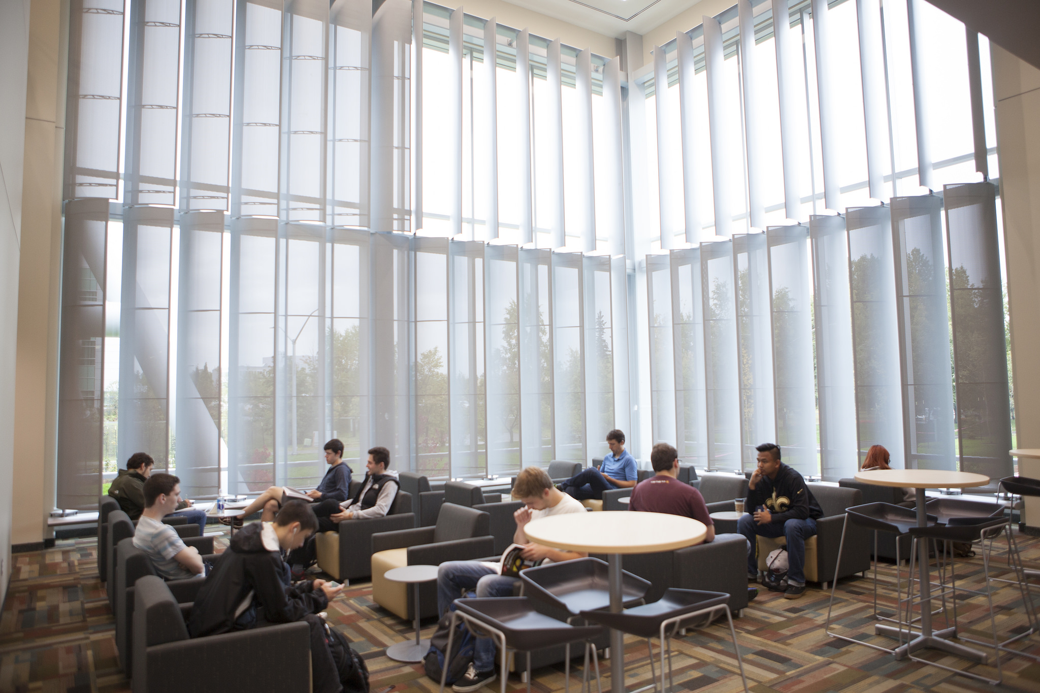 Students sit in the Engineering and Industry Building