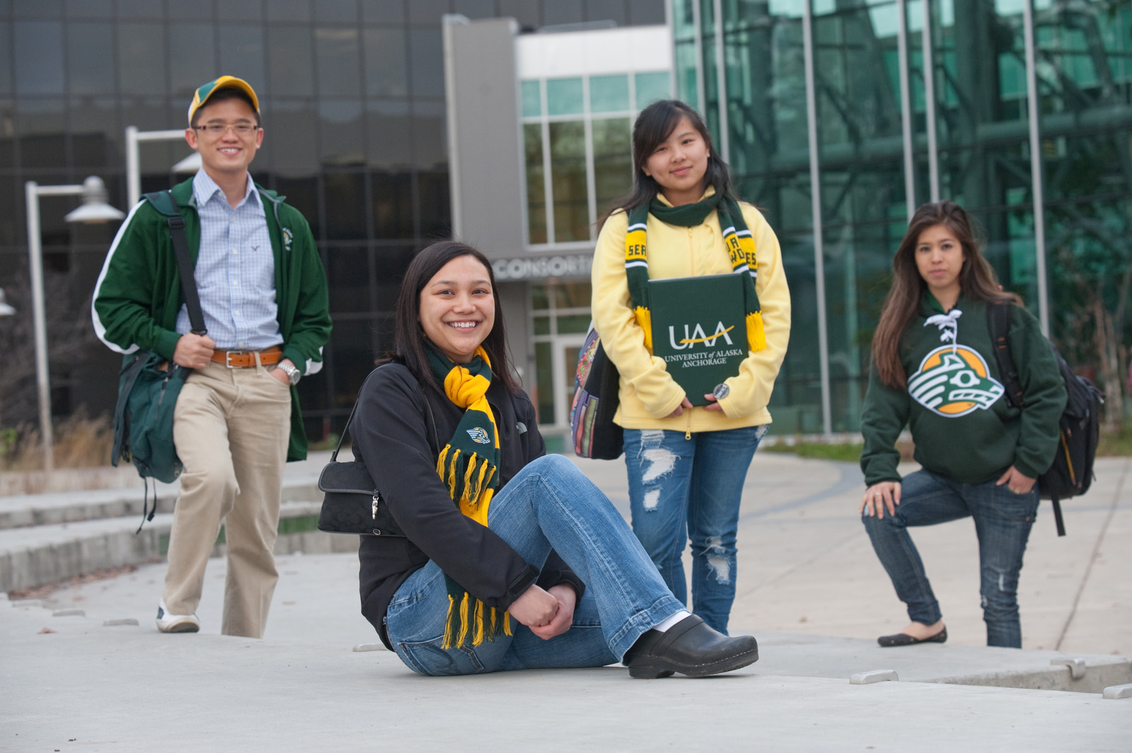 UAA Students in front of the Consortium Library