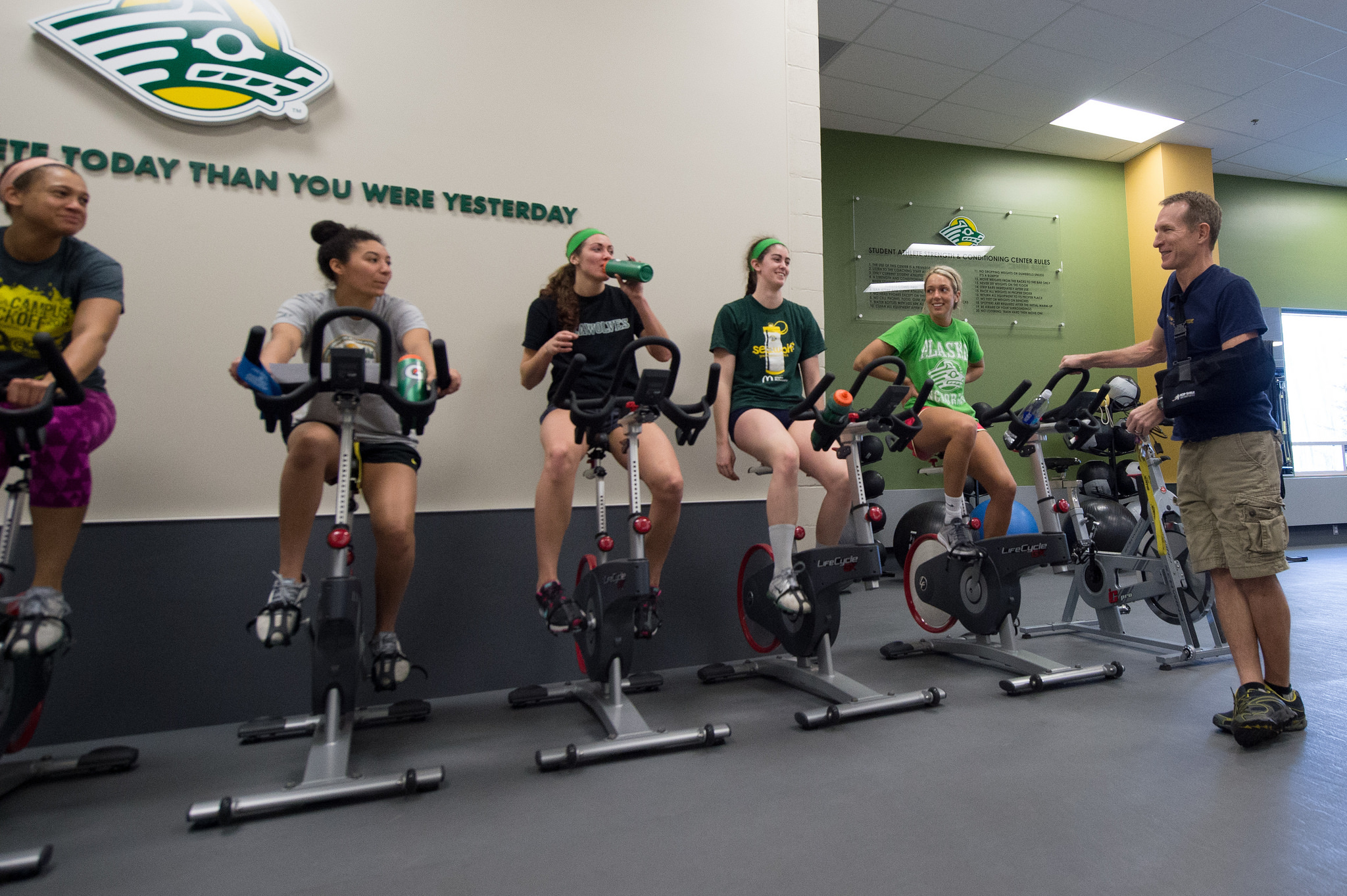 UAA Students working out on stationary bicycles
