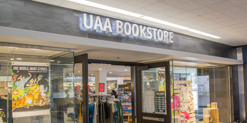The entrance to the UAA Bookstore