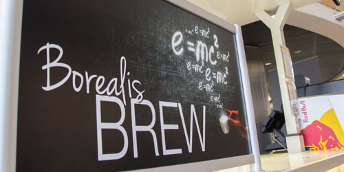 The sign for the Borealis Brew coffee shop