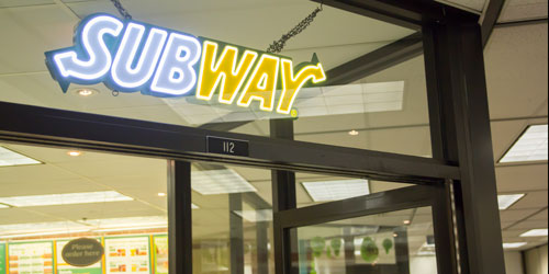The sign at the entrance to SubWay