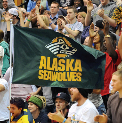 "Book jacket for ""Sourdoughs to Seawolves"" on the history of UAA's Seawolf mascot."