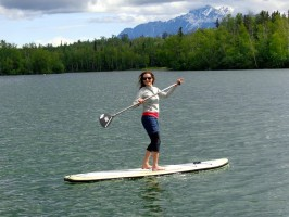 Entrepreneurship runs in the family. Marvat opened Stand Up Alaska, a paddleboard rental company, on Wasilla Lake this summer. Photo courtesy of Marvat Obeidi.