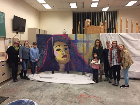UAA art students and portrait subject present final artwork for ACE's Mural Project