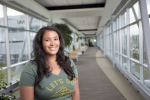 UAA junior in the College of Health's dietetics and nutrition program, Edna Standifer is working toward her goal of becoming a registered dietician. (Photo by Ted Kincaid / University of Alaska Anchorage)