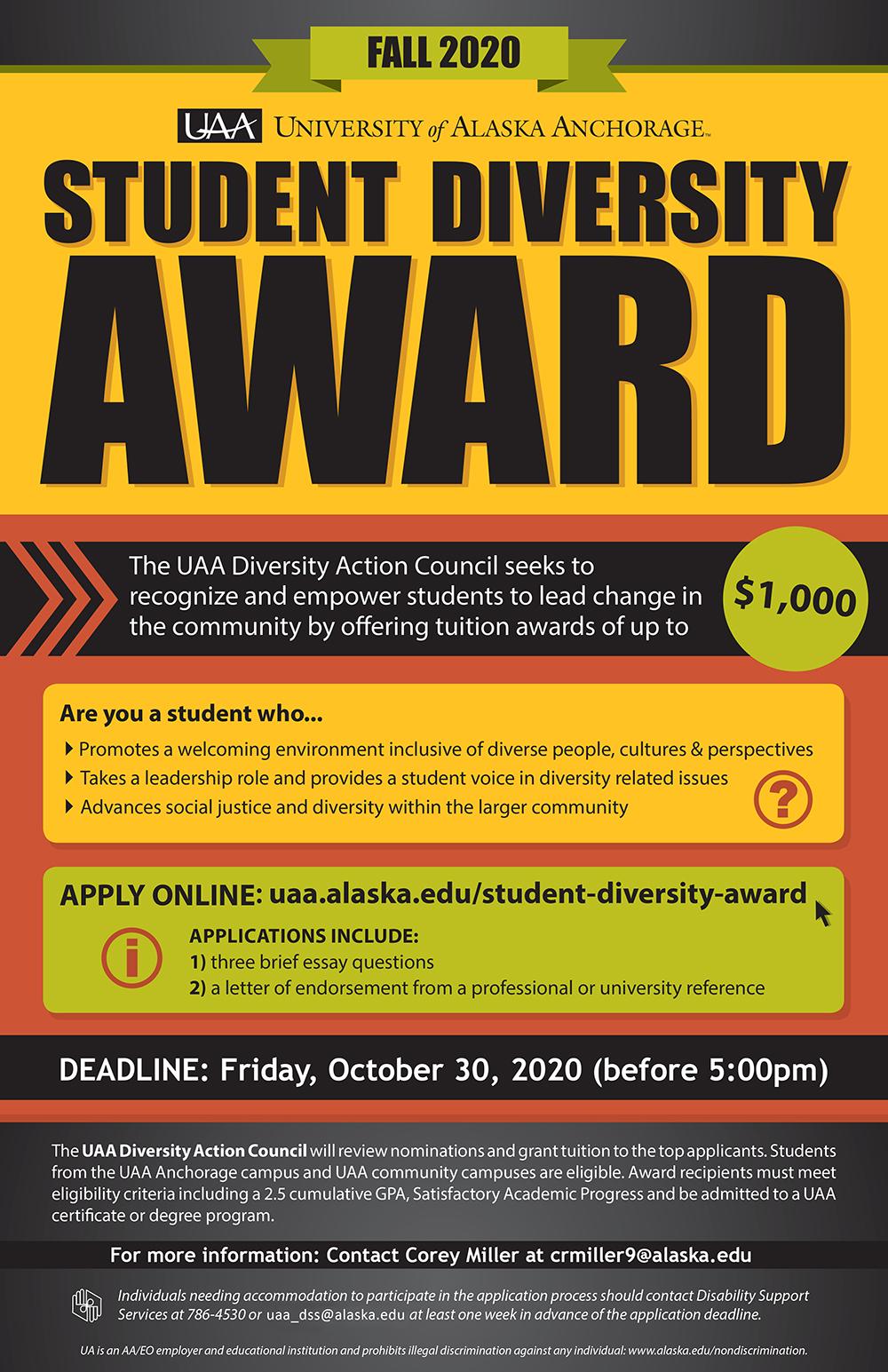 2020 Student Diversity Award poster