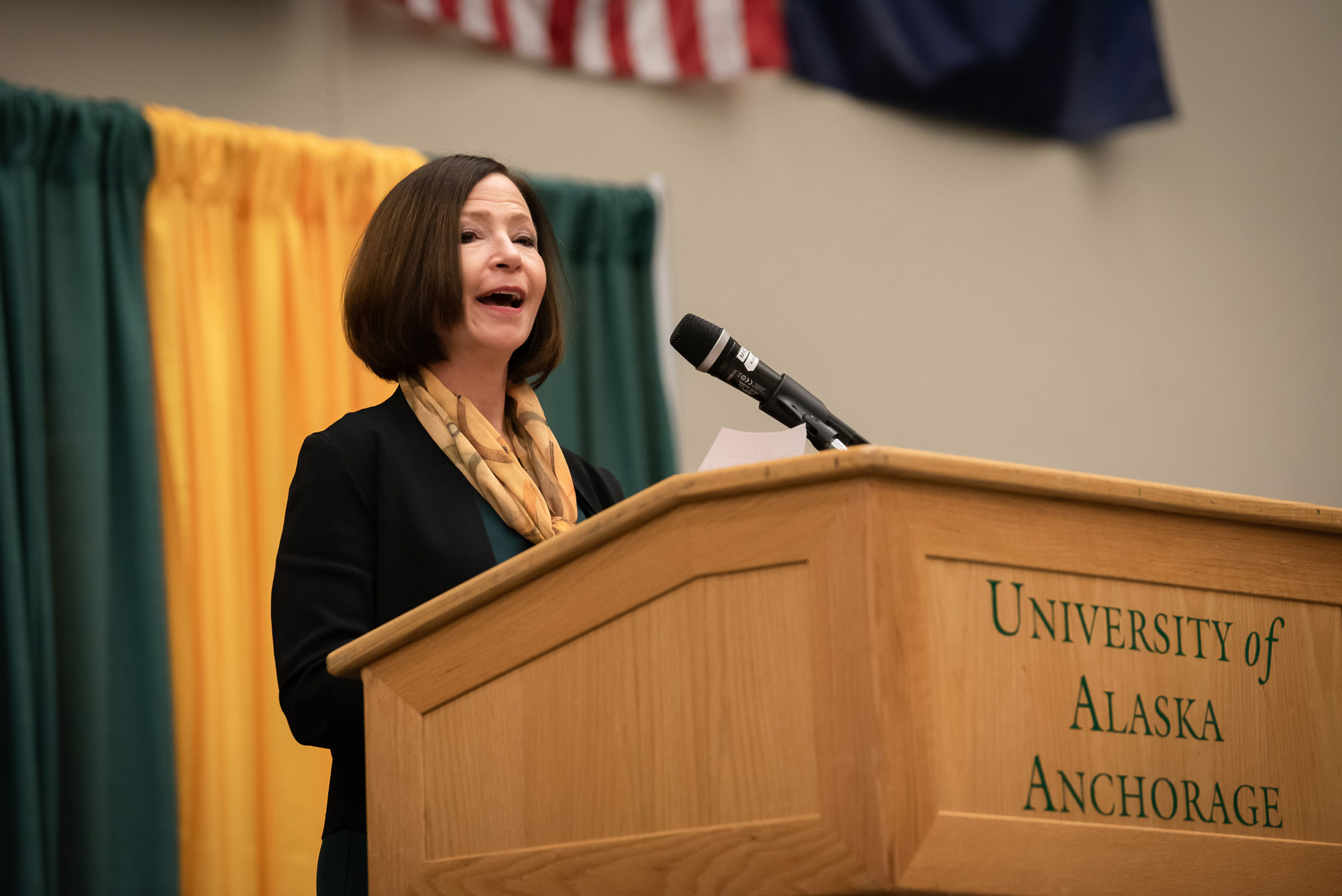 UAA Chancellor Cathy Sandeen speaks at UAA's 2019 Alumni Homecoming Breakfast in the Alaska Airlines Center.