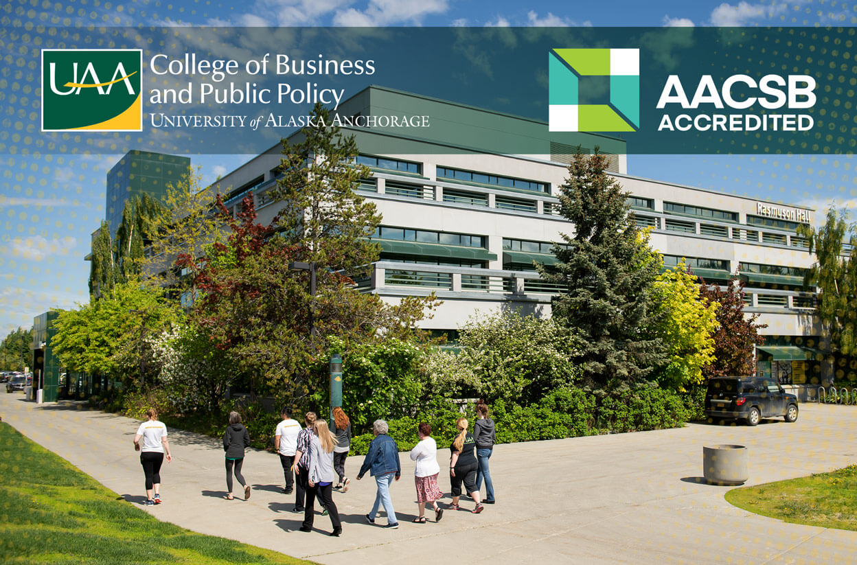 UAA's Rasmuson Hall with CBPP and AACSB logos overlaid
