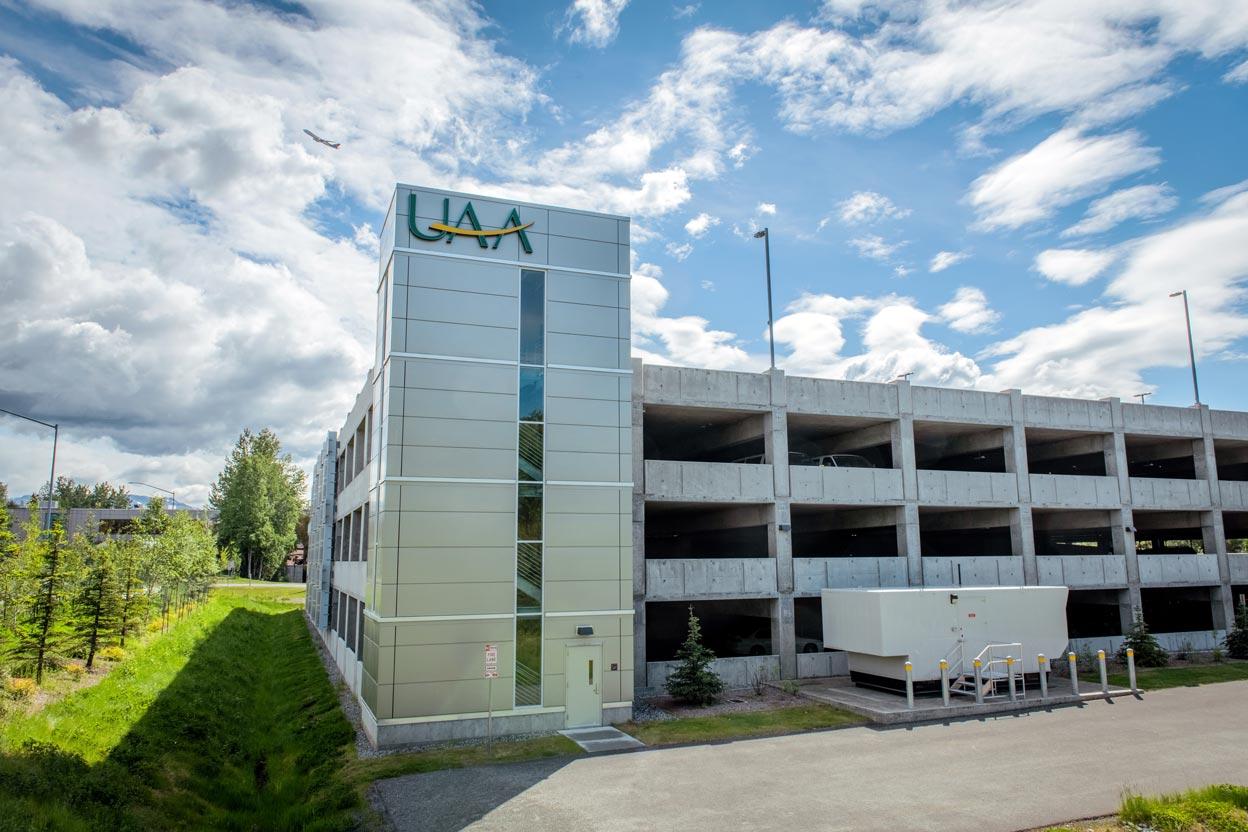 UAA's Engineering Parking Garage.