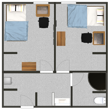 Floorplan for a double suite in the residence halls.