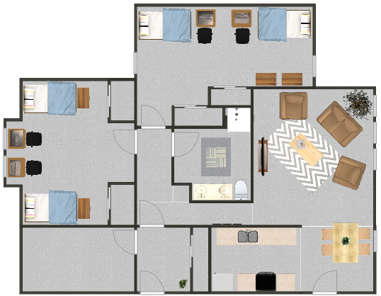 Floorplan for a quad suite with shared rooms in the MAC apartments.