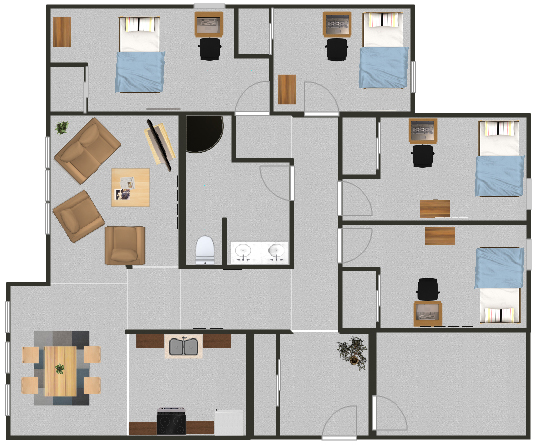 Floorplan for a quad suite with private rooms in the MAC apartments.