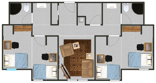 Floorplan for a quad suite with shared rooms in the residence halls.