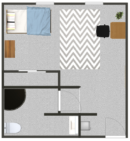 Floorplan for a single suite in the residence halls.