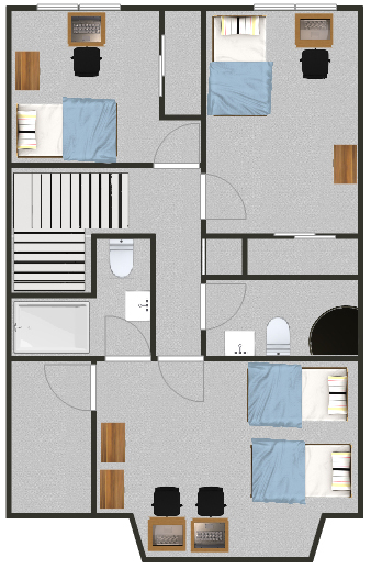 Floorplan of the top floor for the Templewood apartments.