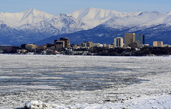 A view of downtown Anchorage in the winter.