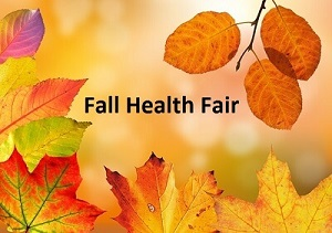 Fall leaves with Fall Health Fair words in center