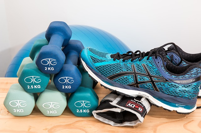 workout shoe with dumbells