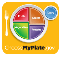 Graph of dinner plate showing portion sizes of food groups as recommended by FDA  guidelines.