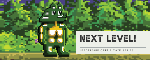 Next Level! Leadership Series promo header with 16-bit Spirit the Seawolf